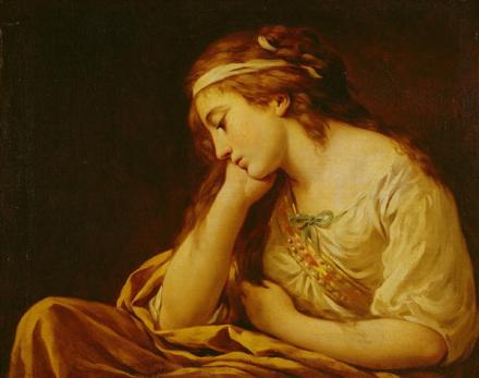 Melancholy by Louis Jean Francois I Lagrenee